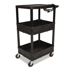 "Balt Multifunction Service Cart - 4 Casters - 4"" Caster Size - Plastic - 24"" Width x 18"" Depth x 42"" Height - Black"