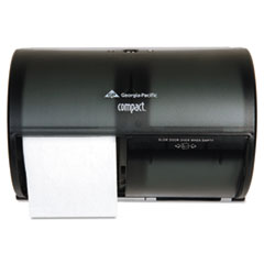 Coreless Double Roll Tissue Dispenser, 10 1/8 x 6 3/4 x 7 1/8, Smoke/Gray