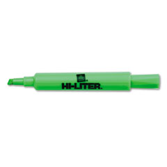Desk Style Highlighter, Chisel Tip, Fluorescent Green Ink, Dozen