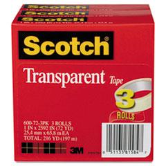 """TRANSPARENT TAPE 600-72-3PK, 1"""" X 2592"""", 3"""" CORE,"""