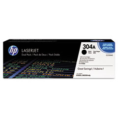 HP 304A, (CC530A-D) 2-pack Black Original LaserJet Toner Cartridges