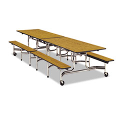 Folding Mobile Table w/Attached Seating, 144w x 30d x 29h, Gray Nebula/Chrome VIRMTBH12091