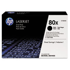 HP 80X, (CF280X-D) 2-pack High Yield Black Original LaserJet Toner Cartridges