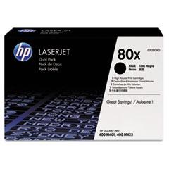 HP 80X, (CF280X-D) 2-pack High Yield Black Original LaserJet Toner Cartridges