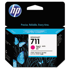 HP 711, (CZ135A) 3-pack Magenta Original Ink Cartridges