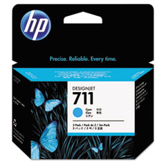 HP 711, (CZ134A) 3-pack Cyan Original Ink Cartridges
