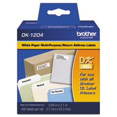 "Die-Cut Multipurpose Labels, .66"" x 2.1"", White, 400/Roll"