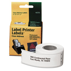 Thermal Printer Labels, Address, 1 1/8 x 3 1/2, Clear, 120/Roll, 1 Roll/Box