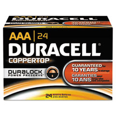 CopperTop Alkaline Batteries with Duralock Power Preserve Technology, AAA, 24/Bx DURMN2400B24000