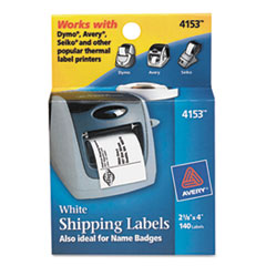 Thermal Printer Labels, Shipping, 2-1/8 x 4, White, 140/Roll, 1 Roll/Box