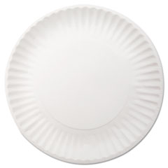 "White Paper Plates, 9"" dia, 250/Pack, 4 Packs/Carton DXEWNP9OD"