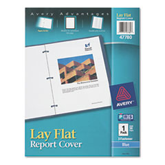 "Lay Flat View Report Cover w/Flexible Fastener, Letter, 1/2"" Cap, Clear/Blue"