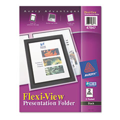 Flexi-View Two-Pocket Polypropylene Folder, Translucent/Black, 2/Pack
