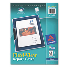 "Flexi-View Report Cover w/Swing Clip, Letter, 1/8"" Cap, Clear/Navy, 2/Pack"