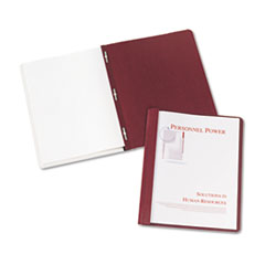 """Durable Clear Front Report Cover w/Prong Fasteners, 1/8"""" Cap, Clear/Red, 25/Box"""