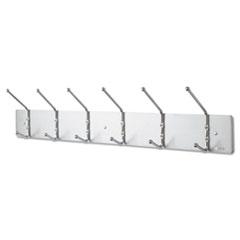 Metal Wall Rack, Six Ball-Tipped Double-Hooks, 36w x 3-3/4d x 7h, Satin Metal