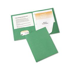 """Two-Pocket Folder, Prong Fastener, Letter, 1/2"""" Capacity, Green, 25/Box"""
