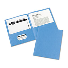 Two-Pocket Folder, 20-Sheet Capacity, Light Blue, 25/Box