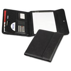 Professional Tri-Fold Padfolio w/Calculator, Writing Pad, Vinyl, Black