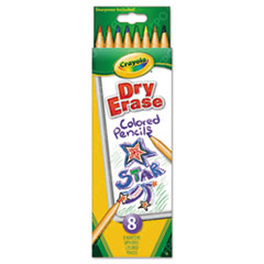 Dry Erase Washable Colored Pencil Set, Assorted, 8/Set