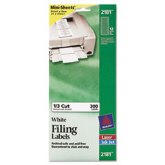 File Folder Labels on Mini Sheets, 2/3 x 3 7/16, White, 300/Pack
