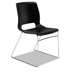 COU - Motivate Seating High-Density Stacking Chair, Onyx/Chrome, 4/Carton