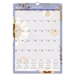 Paper Flowers Monthly Wall Calendar, 17 x 12, 2015