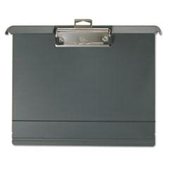 "Landscape Klip & File, 1"" Capacity, Holds 8 1/2 x 11, Plastic, Charcoal"