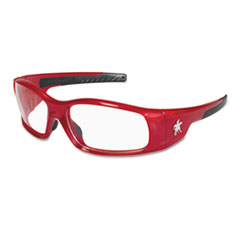 Crews * Swagger Safety Glasses, Red Frame, Clear Lens