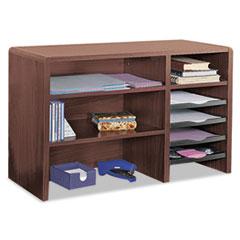 Desktop Organizer, Nine Sections, 29 x 12 x 18, Mahogany SAF3692MH