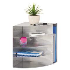 4-Way Corner Organizer, 5 Compartments, 11 x 13 x 11, Steel, Silver