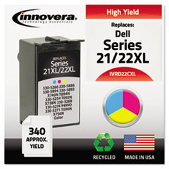 Remanufactured 330-5266 (21XL/22XL) High-Yld Ink, 340 Pg-Yld,Tri-Color