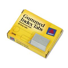 Gummed Index Tabs, 1 x 13/16, Gray, 50/Pack