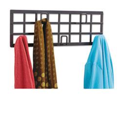 Grid Coat Rack, Five Hooks, 21-1/2w x 2-1/4d x 6-3/4h, Black