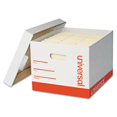 Extra-Strength Storage Box w/Lid, Letter/Legal, 12 x 15 x 10, White, 12/Carton