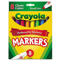Non-Washable Markers, Broad Point, Classic Colors, 8/Set