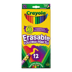 Erasable Colored Woodcase Pencils, 3.3 mm, 12 Assorted Colors/Set