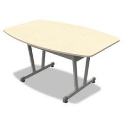 Trento Line Conference Table, 59-1/8w x 39-1/2d x 29-1/2h, Oatmeal/Metallic Gray