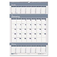 Bar Harbor Wirebound Three-Months-per-Page Wall Calendar, 12 x 17, 2014-2015