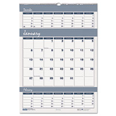 Bar Harbor Wirebound Three-Months-per-Page Wall Calendar, 15-1/2 x 22, 2014-2015