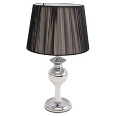"Chalice Table Lamp with Black String Shade, 13W, 16"" High, Chrome"