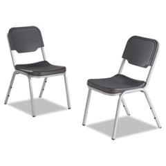 Rough N Ready Series Original Stackable Chair, Black/Silver, 4/Carton
