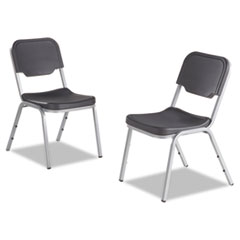 Rough N Ready Series Original Stackable Chair, Charcoal/Silver, 4/Carton