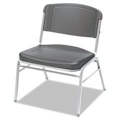 Rough N Ready Series Big & Tall Stackable Chair, Charcoal/Silver, 4/Carton