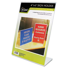 Clear Plastic Sign Holder, Desktop, 4 x 6