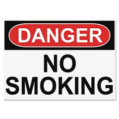 OSHA Safety Signs, DANGER NO SMOKING, White/Red/Black, 10 x 14 USS5484