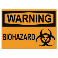 OSHA Safety Signs, WARNING BIOHAZARD, Orange/Black, 10 x 14 USS5498