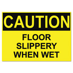 OSHA Safety Signs, CAUTION SLIPPERY WHEN WET, Yellow/Black, 10 x 14 USS5494