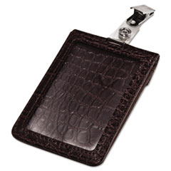 Croc-Textured Badge Holder, 2 1/2 x 3 3/4, Horizontal/Vertical, Brown, 5/PK
