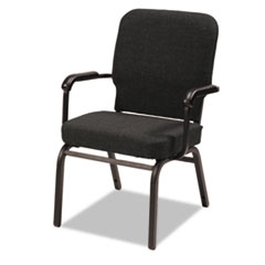 Oversize Stack Chair with Arms, Black Fabric Upholstery, 2/Carton